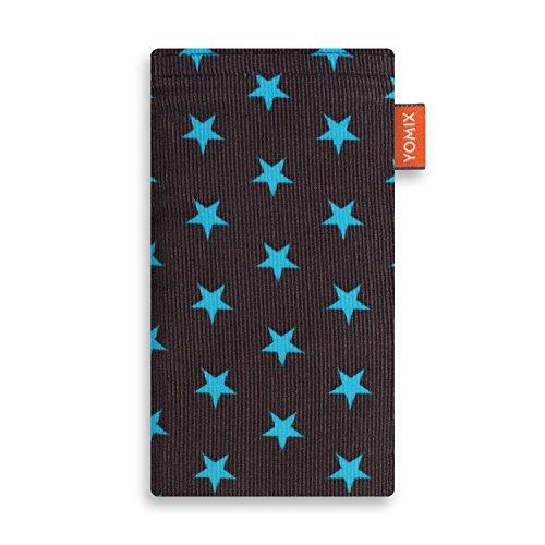 YOMIX Handytasche | Tasche | Hülle Stella für bq Aquaris X Pro aus Cordstoff mit genialer Bildschirm-Reinigungsfunktion durch Microfaserinnenfutter