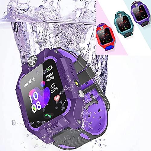 """Reloj Inteligente niños GPS y Sensor de Temperatura, Smartwatch Kids Analógico y Digital con Linterna y Juegos. Pantalla de 1,44"""" . (Morado)"""