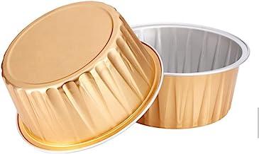 "KEISEN 5oz 3 2/5"" Set of 24 Disposable Aluminum Foil Cups 125ml for Muffin Cupcake Baking Bake Utility Ramekin Cup (gold)"