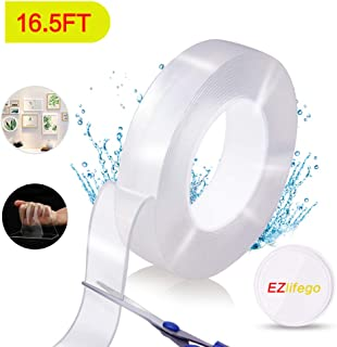 Multipurpose Double Sided Tape - Nano Removable Traceless Mounting Tape,Washable Heavy Duty Adhesive Grip Strong Sticky Transparent Strips Wall Tape Poster Tape for Paste Items,Household (16.5FT/5M)