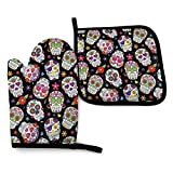 yuhuandadi Festive Graveyard Mexico Ritual Kitchen Oven Mitts and Pot Holders,Heat Resistant to 356fahrenheit Degrees Kitchen Oven Gloves for BBQ Grilling Cooking Baking Grilling