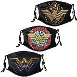 Super Hero 3Pcs Cloth Face Mask Washable Face Bandana Masks for Men Women 6 Filters