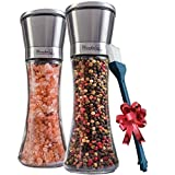 Salt and Pepper Grinder Set of 2 - Tall Salt and Pepper Shakers with Adjustable Coarseness by Ceramic Rotor - Stainless Steel Pepper Mill Shaker and Salt Grinders Mills Set with FREE Cleaning Brush