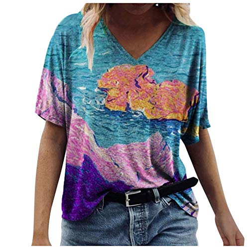 VEMOW Blusas y Camisa Mujer Moda Blusas básicas Manga Corta Cuello en V, Impresión Creativo Corazón Camisetas Informal Camisas Sueltas Tallas Grandes Fiesta T-Shirt Tops Originales(E5 Púrpura,S)