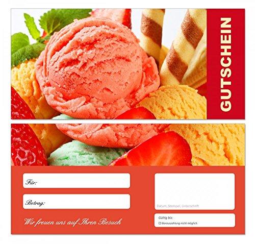 200 Stück Premium First Class Geschenkgutscheine (Eis-680) - Ein schönes Produkt für Ihre Kunden Gutscheine Gutscheinkarten für Bereiche wie Einzelhandel, Restaurant, Eiscafe, Eisdiele Gastronomie und vieles mehr