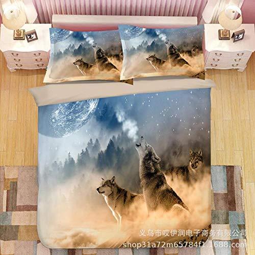 Epissche Cama De Tres Piezas Sabanas Bajeras Funda Impresión Digital 3D Lobo De Tres Piezas Serie Animal Textil para El Hogar-Estrella_180X210 Juego De Tres Piezas