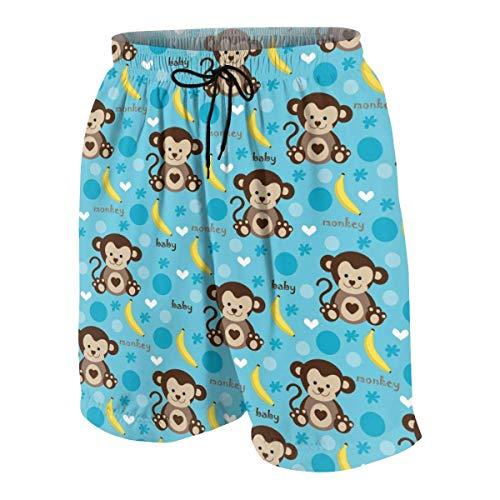 Süße Baby-Schwimmhose mit Affen- und Bananenmotiv für Jungen, schnelltrocknend, coole Boardshorts, 7–20 Jahre Gr. 44116, weiß