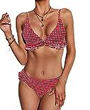 CheChury Costumi da Bagno Donna Sexy Costume da Bagno V Profonda Due Pezzi Imbottito Push-Up Bikini Brasiliano Ruffles Flounce Estivo Spiaggia