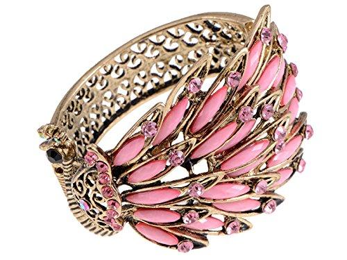 ALILANG Frauen Antik Vintage Retro Gold Gumetal Bronze Türkis Pink Kristall Strass Pfau Armband Armreif