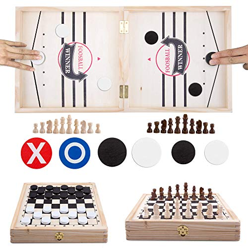 Fast Sling Puck Game,Chess Set,Checkers and Tic-Tac-Toe Board Game 4 in 1,Wooden Hockey Table Game...