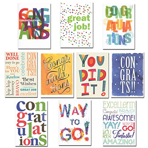 Congratulations Cards Assortment 30 Cards w/Messages Made in USA + 32 Env by CroninCards