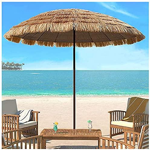 Sombrilla de Paja de Playa Tropical Hawaiana, 8ft Puede Inclinarse Ventilación Parasol De Paja para Terraza Jardín Playa Piscina Patio Sombrilla
