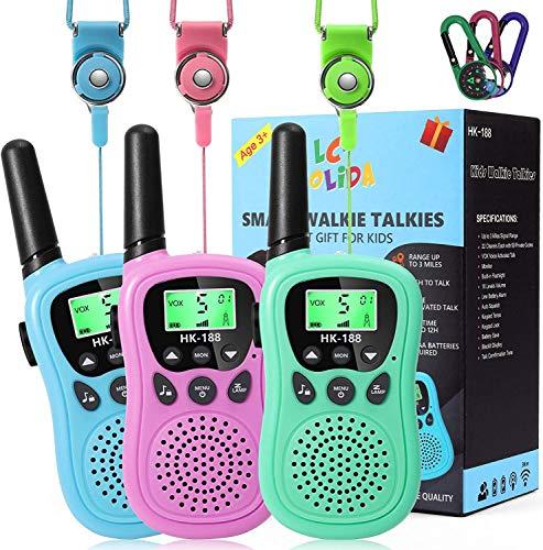 LC-dolida Walkie Talkie Kinder,8 Kanäle Funkgerät Kinder Set mit Taschenlampe,3KM Reichweite Walki Talki Spielzeug Geschenke ab 3 Jahre Jungen/ Mädchen für Zelten,Indoor und Wandern(3er Set)
