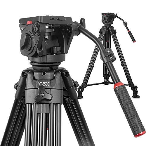 NEU: Kingjoy Videostativ Filmstativ Kit VT-35 inkl. VT-3530 Fluidneiger und VT-3500 Schwerlast-Video-Dreibeinstativ, Höhe 196,5cm, Packmaß 96 cm, Tragkraft 22kg, Gewicht 5,8kg