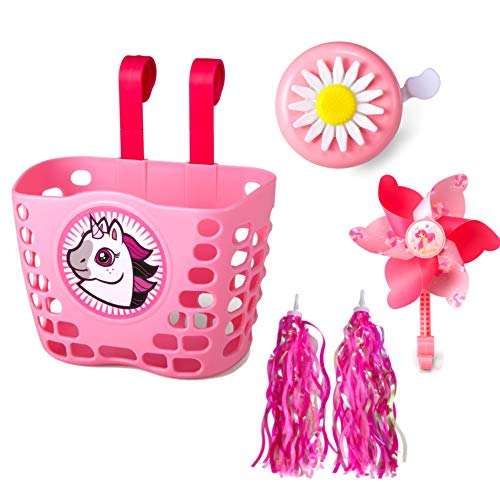 BIKE ENJOY Bike Accessories for Girls – Set with Girl's Bike Basket, Tassels, Flower Bell and Windmill – Accessories for Bicycles – Adorable Pink Design – Easy to Install – 5 Pieces Set