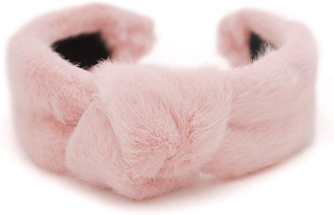 surell Faux Mink Hairband with Knot - Winter Fashion Fluffy Accessory - Luxury Headwear - Fake Fur Fuzzy Headband