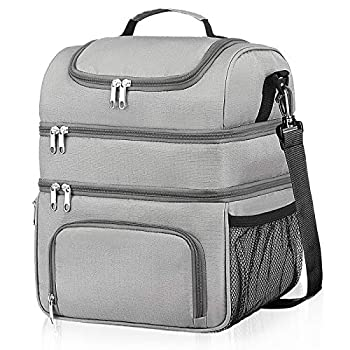 Insulated Lunch Bag 18L Leakproof Reusable Large Capacity Bag with Adjustable Strap Three Deck Lunch Box for Office Camping Hiking Outdoor Picnic Beach  Grey Large