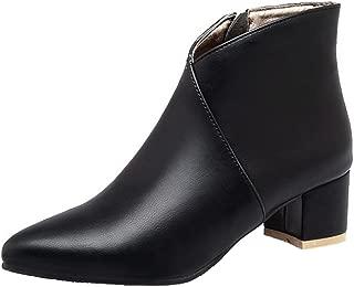 Mofri Women's Sexy Pointed Toe Block Medium Heel Side Zipper Short Ankle Boots