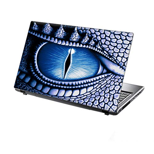 TaylorHe 13-14 inch Laptop Skin Vinyl Decal with Colorful Patterns and Leather Effect Laminate MADE IN England Dragon Eye, Blue