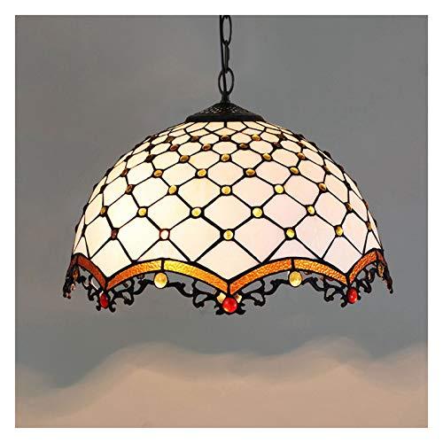 Tiffany Style Deckenpendelleuchte, Retro Buntglas Lampenschirm Single Head Pendelleuchte, Hängelampe für Wohnzimmer Schlafzimmer Küche Flur.