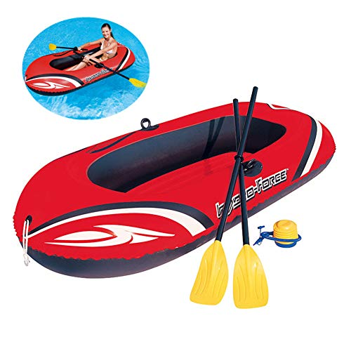 YQDS Canoa al Aire Libre Kayak Inflable Ocio Plegable 1-2 Personas De Espesor Resistente al Desgaste plástico PVC Cómodo Barca Hinchable Lancha Bote Inflable Marina Deportes Aventura Pesca,155x97cm