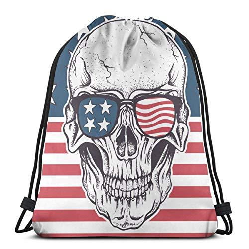 Cráneo americano en gafas de sol en la bandera de Estados Unidos con cordón Bapa bolsa de deporte gimnasio Sapa impermeable hombres mujeres cincha bolsa para viajes yoga playa escuela