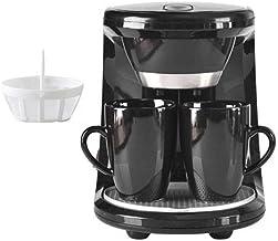 آلة القهوة، ماكينة قهوة كهربائية صغيرة لإبريق الشاي في المنزل شبه التلقائي آلة قهوة اسبرسو 2 كوبان، أسود