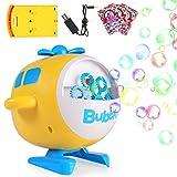SHANNA Máquina Burbujas para Niños,Juguetes Hacer Burbujas Automatic con 3 Paquetes Concentrado,Bebé Divertido Juguetes Baño Juego al Aire Libre Niños (Amarillo-Forma Avión USB Recargable)