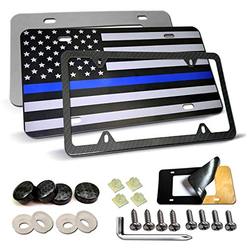 American Flag License Plate -USA Thin Blue Line Flag Matte Black Aluminum Front Plate and Carbon Fiber License Plate Frame,Car Auto Tag Decoration with Stainless Steel Screws,Anti-Rattle Foam Pad