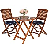 Giantex 3Pcs Patio Bistro Set, Wood Folding Table Set, 2 Cushioned Chairs for Garden Yard, Outdoor Furniture (Natural)