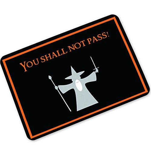 "Eureya - Felpudo para puerta (40 x 60 cm), diseño con texto en inglés ""You Shall Not Pass"""