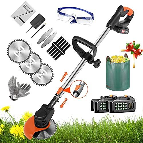Coupe Bordure Sans Fil avec Batterie (36V 6.0Ah), Débroussailleuse Electrique avec 3 Types de Lames/Chargeur/Sacs de jardin, Tête Réglable et Poignée Télescopique, pour Maison,Orange 2 battery