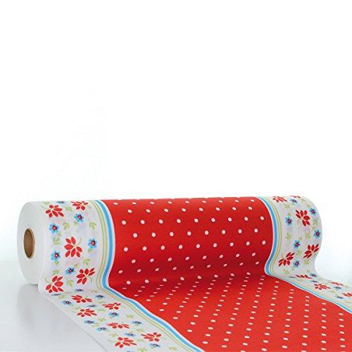 Sovie HORECA Tischläufer Lea | Linclass® Airlaid Tischläufer 40cm x 24m | Tischdecken-Rolle stoffähnlich | Einmal-Tischdecke für Feierlichkeiten | Rot