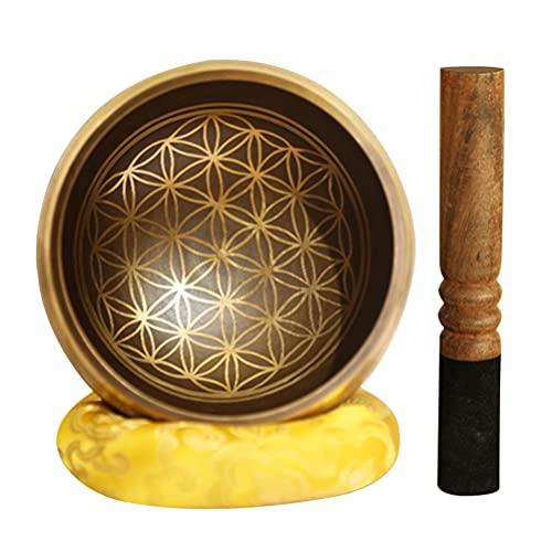 WINOMO Tazón tibetano para cantar con diseño de buda, con mazo y cusión para meditación, yoga, chakra, curación, oración, percusión, instrumento musical, regalo