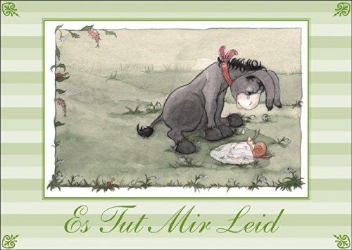Die Entschuldigungskarte mit kleinem traurigem Esel: Es Tut Mir Leid • auch zum direkt Versenden mit ihrem persönlichen Text als Einleger. • hübsche hochwertige Grusskarte mit Umschlag für Sie gefertigt