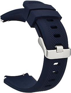 MroTech 22mm Correa de Reloj Silicona Compatible para Samsung Galaxy Watch 46mm/ Gear S3 Frontier/Classic/Huawei Watch GT 2 /GT Sport/Active/Elegant Pulseras Bandas Goma Caucho -Azul Oscuro