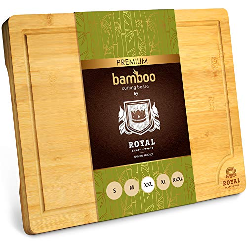 XXL Bamboo Cutting Board for Kitchen with Juice Groove...