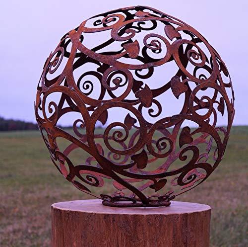 Edelrost Kugel Ornament mit Herz auf Standring 40 cm Deko - Kugel Handarbeit
