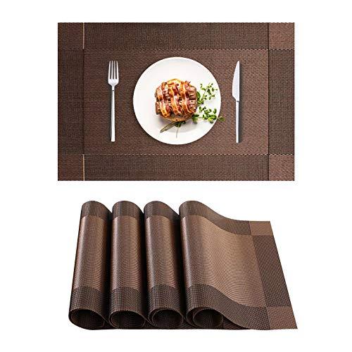Tischset Abwaschbar, PVC Rutschfestes Platzsets, 4er Set Hitzebeständig Platzdeckchen Rechteckig Esstischmatten für Zuhause Speisetisch Küche Tisch Restaurant Dekoration(30 x 45cm, Schwarz Gold)