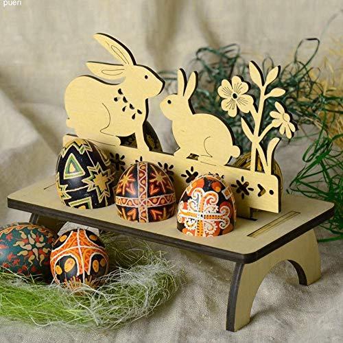 Sannysis Osterdeko Ostereier Halter Holz Tablett Eierkocher Eier DIY Cartoon Küken Kaninchen Eierbecher Set Halter Vintage Abnehmbare Home Party Tischdekoration