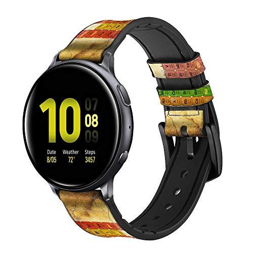 Innovedesire Vintage Periodic Table of Elements Correa de Reloj Inteligente de Cuero y Silicona para Samsung Galaxy Watch, Watch3 Active, Active2, Gear Sport, Gear S2 Classic Tamaño (20mm)