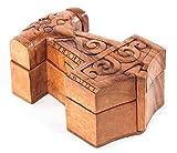 WINDALF Vikings TÓL�R - Caja de madera hecha a mano, 13,5 cm, diseño de martillo nórdico de Thor