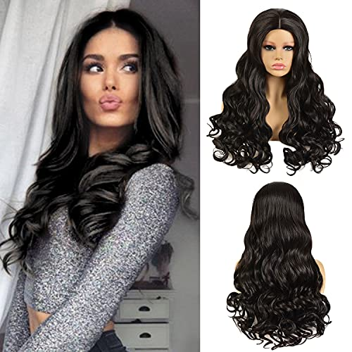Lady Body Wave Wig Natural Black Color Nature Curly Synthetic Weave Full Cosplay Long Wigs for Women(1B# Natural Black,24'')