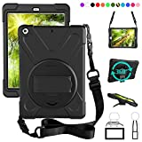 ZenRich New iPad 9.7 2017 2018 Case,360 Degree Rotatable with Kickstand,Hand Strap and Shoulder Strap case, zenrich 3...