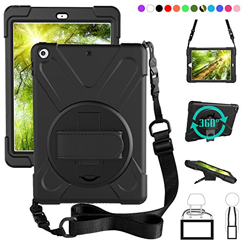 ZenRich New iPad 9.7 2017 2018 Case,360 Degree Rotatable with Kickstand,Hand Strap and Shoulder Strap case, zenrich 3 Layer Hybrid Heavy Duty Shockproof case for iPad 9.7 5th/6th Generation (Black)