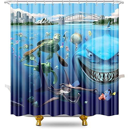 Duschvorhänge Finding Nemo Duschvorhang Anti-Schimmel antibakteriell waschbar Badewannenvorhang Polyestergewebe mit 12 Duschvorhangringen 78,74 x 78,74 Zoll