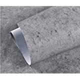 New Cement Gray linen pattern waterproof wallpaper self-adhesive solid color dormitory bedroom wall stickers cabinets furniture,19,3mx60cm