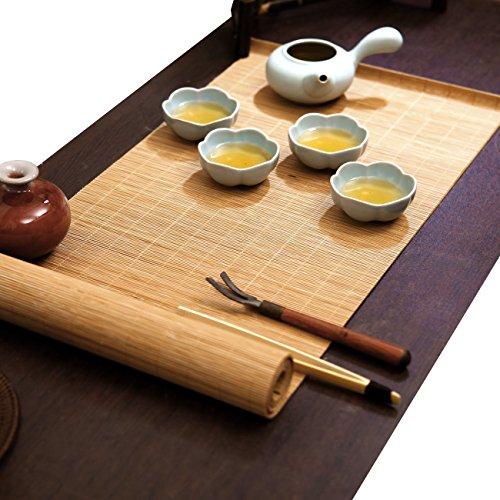 YOY Tea Ceremony - Kung Fu Tea Set Mat Natural Bamboo Tablemat Slat Handmade Bamboo Sticks Decor Placemat Tea Table Runner 12 by 47-Inch, Natural