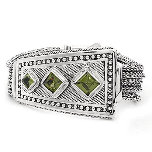Shadi, étnico - Pulsera de plata y peridotos naturales (joyería de plata artesanal - regalo - mujer - hombre - Navidad - Reyes - cumpleaños)