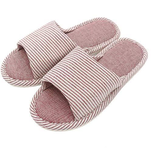 Zapatillas Antideslizantes de Lino a Rayas de Estilo recreativo cómodas para Parejas para Uso en Interiores (Rojo, EU39-40)
